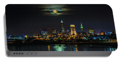Super Full Moon Over Cleveland Portable Battery Charger