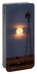 Super Moon And Windmill Portable Battery Charger by Rob Graham