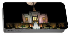 Super Moon At Ogden Lds Temple Portable Battery Charger