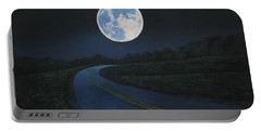 Super Moon At The End Of The Road Portable Battery Charger