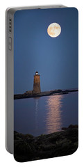 Super Moon Over Whaleback Lighthouse Portable Battery Charger