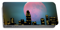 Supermoon Over The City Portable Battery Charger
