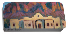 Portable Battery Charger featuring the painting Superstition Mountain Evening by Diane McClary