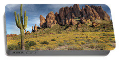 Portable Battery Charger featuring the photograph Superstition Mountains Saguaro by James Eddy