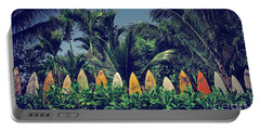 Portable Battery Charger featuring the photograph Surf Board Fence Maui Hawaii Vintage by Edward Fielding