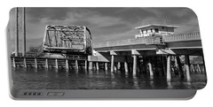 Surf City Bridge - Black And White Portable Battery Charger