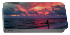 Surf Fishing At Sunset Portable Battery Charger