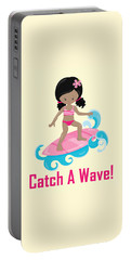 Surfer Art Catch A Wave Girl With Surfboard #20 Portable Battery Charger
