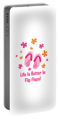 Surfer Art - Life Is Better In Flip Flops Portable Battery Charger