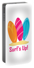 Surfer Art - Surf's Up Surfboards Portable Battery Charger