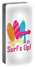 Surfer Art - Surf's Up To The Beach With Surfboards Portable Battery Charger
