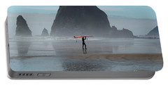 Surfer At Haystack Rock Portable Battery Charger