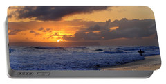 Surfer At Sunset On Kauai Beach With Niihau On Horizon Portable Battery Charger by Catherine Sherman