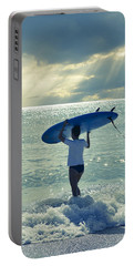 Surfer Girl Portable Battery Charger by Laura Fasulo