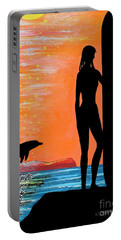 Surfer Girl With Dolphin Portable Battery Charger