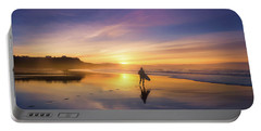 Surfer In Beach At Sunset Portable Battery Charger