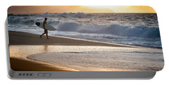 Surfer On Beach Portable Battery Charger
