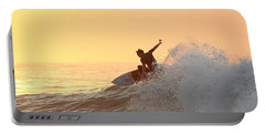 Portable Battery Charger featuring the photograph Surfing In Golden Sky by Robert Banach