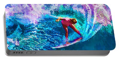Surfs Like A Girl 1 Portable Battery Charger by ABeautifulSky Photography