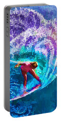 Surfs Like A Girl 2 Portable Battery Charger by ABeautifulSky Photography