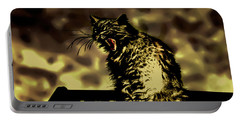 Surreal Cat Yawn Portable Battery Charger by Gina O'Brien