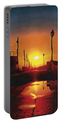 Surreal Cityscape Sunset Portable Battery Charger