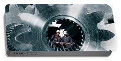 Surreal Image Of Workers Inside Giant Gears And Cogs Portable Battery Charger