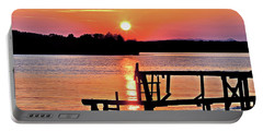 Surreal Smith Mountain Lake Dock Sunset Portable Battery Charger by The American Shutterbug Society