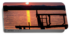 Surreal Smith Mountain Lake Dockside Sunset 2 Portable Battery Charger by The American Shutterbug Society