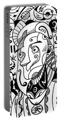Surrealism Philosopher Black And White Portable Battery Charger