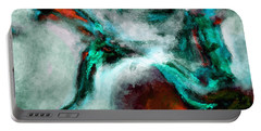 Portable Battery Charger featuring the painting Surrealist And Abstract Painting In Orange And Turquoise Color by Ayse Deniz