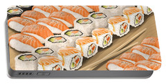 Portable Battery Charger featuring the painting Sushi by Veronica Minozzi