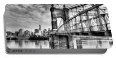 Suspension Bridge At Cincinnati Bw Portable Battery Charger