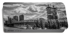 Suspension Bridge Black And White Portable Battery Charger