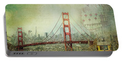 Portable Battery Charger featuring the photograph Suspension - Golden Gate Bridge San Francisco Photography Mixed Media Collage by Melanie Alexandra Price