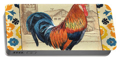 Suzani Rooster 2 Portable Battery Charger by Debbie DeWitt