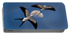 Swallow Tail Kites In Flight Under Moon Portable Battery Charger