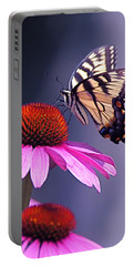 Portable Battery Charger featuring the photograph Swallowtail And Coneflower by Byron Varvarigos