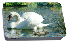 Portable Battery Charger featuring the photograph Swan And Cygnets by Morag Bates