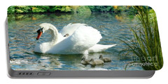 Swan And Cygnets Portable Battery Charger by Morag Bates