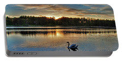 Swan At Sunset Portable Battery Charger