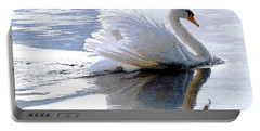 Swan Bathed In Morning Light Series 3 - Digitalart Portable Battery Charger