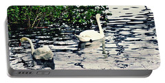 Portable Battery Charger featuring the photograph Swan Family On The Rhine 2 by Sarah Loft