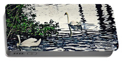Portable Battery Charger featuring the photograph Swan Family On The Rhine 3 by Sarah Loft
