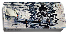 Portable Battery Charger featuring the photograph Swan Family On The Rhine by Sarah Loft