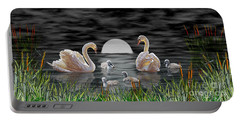 Swan Family Portable Battery Charger by Terri Mills