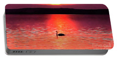 Swan In The Sunset Painting Portable Battery Charger