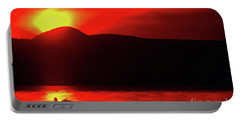 Portable Battery Charger featuring the painting Swan Preen In The Sunset by Odon Czintos