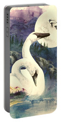Portable Battery Charger featuring the painting Swan Song by Sherry Shipley