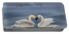 Swan Valentine - Blue Portable Battery Charger by Patti Deters